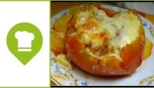tomates con setas rellenas
